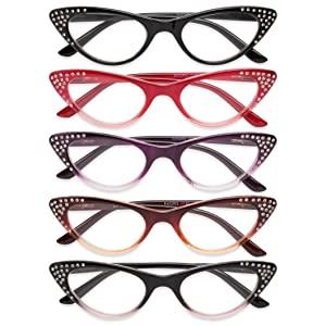 cat eye womens rhinestone reading glasses
