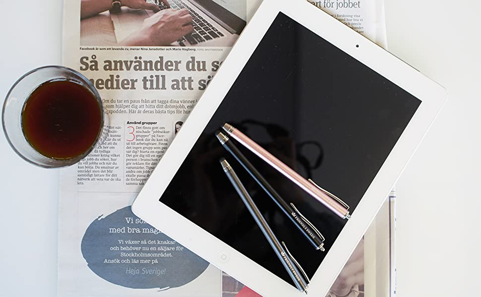 flatlay tablet with stylus