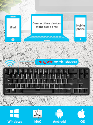 60/% Bluetooth Mechanical Gaming Keyboard RGB Backlit Bluetooth Wired//Wireless LED Computer MAC Keyboard Blue Switches 100/% Anti-Ghosting Keyboard for Multi-Device Phone Android Mobile PC Laptop