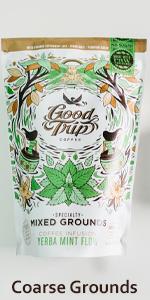 yerba mate mint tea mixed coarse ground coffee french press cold brew infusion organic keto roast