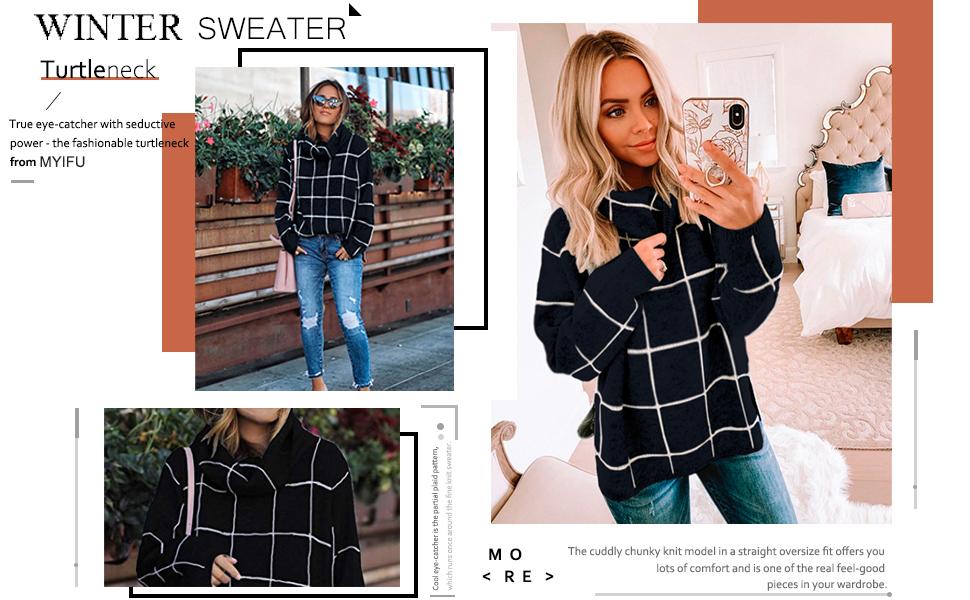 MYIFU Women's Winter Turtleneck Plaid Pullover Sweater