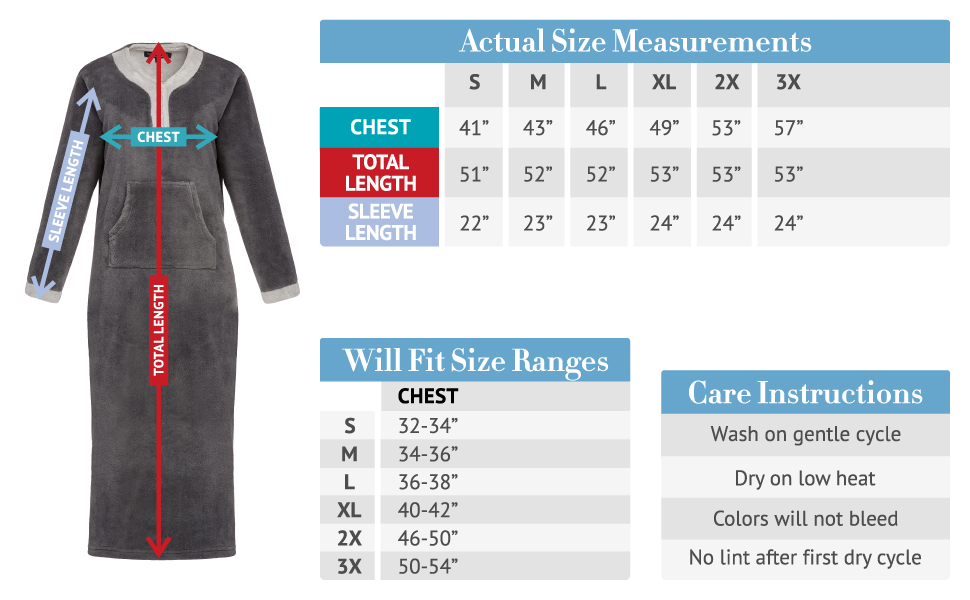nightgown size chart
