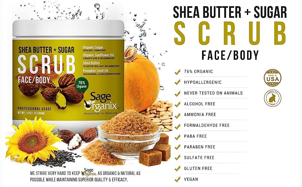Sage Organic Facial Scrub Organic Natural Shea Butter Sugar Deep Cleanse Exfoliate Acne Blackhead