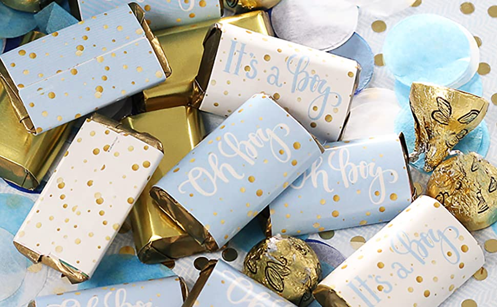 blue and gold baby shower chocolate wrappers