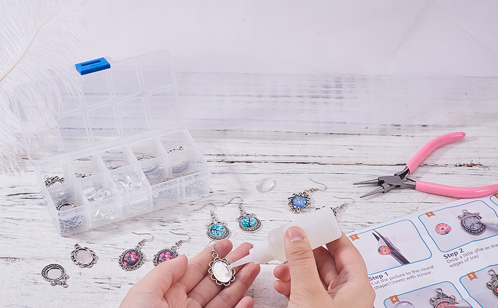 cabochon earrings earring making kit cabochon setting 12mm earring wire hook with 12mm cabochon tray