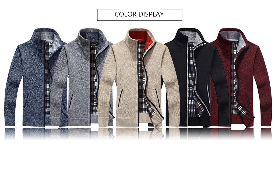 VtuAOL Men's Casual Soft Knit Full Zip Cardigan Sweaters