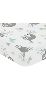 Blue and Grey Jungle Sloth Leaf Unisex Boy or Girl Baby or Toddler Nursery Fitted Crib Sheet
