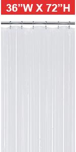 plastic shower curtain 36x72