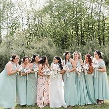 Seafoam Green Womens Girls Long Wedding Bridesmaid Dress One Shoulder Multi-Way Strap Maxi Dresses