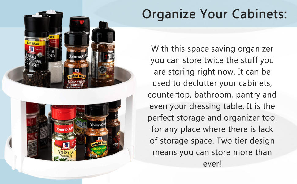 Tiered Rotating Kitchen Spice Organizer