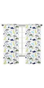 Blue and Green Modern Dinosaur Bedroom Decor Window Treatment Panels - Set of 2