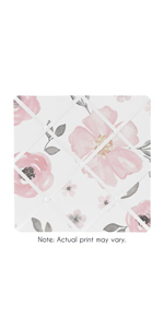 Blush Pink, Grey and White Fabric Memory Memo Photo Bulletin Board for Watercolor Floral Collection