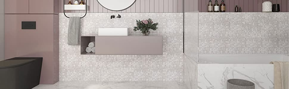 Soulscrafts Seamless White Mother of Pearl Square Mosaic Tile Kitchen backsplash peel and stick