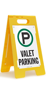 Valet Parking Signs, Folding Floor Sign, High-Impact Plastic, Portable