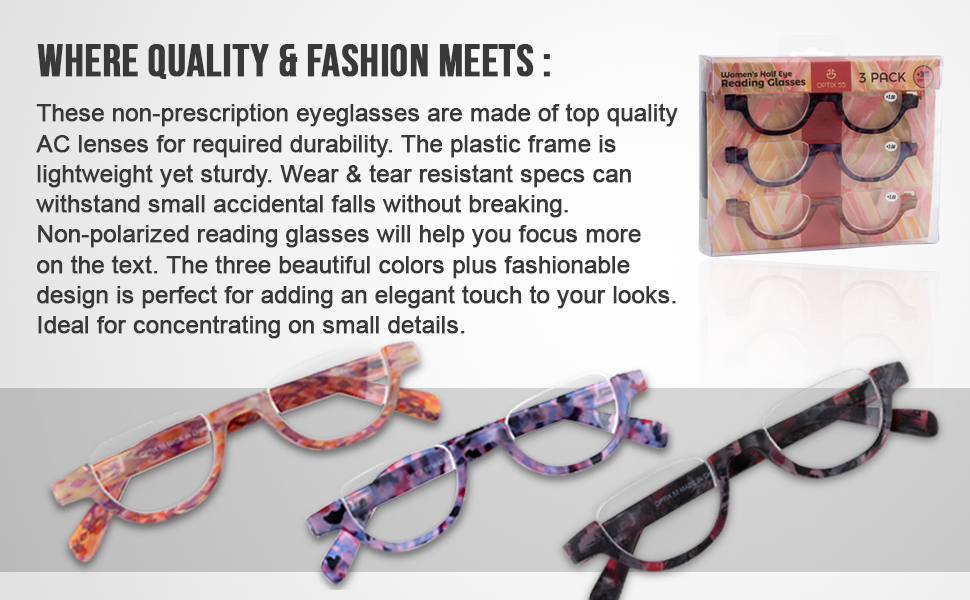 Reading glasses are made of top quality AC lenses for durability