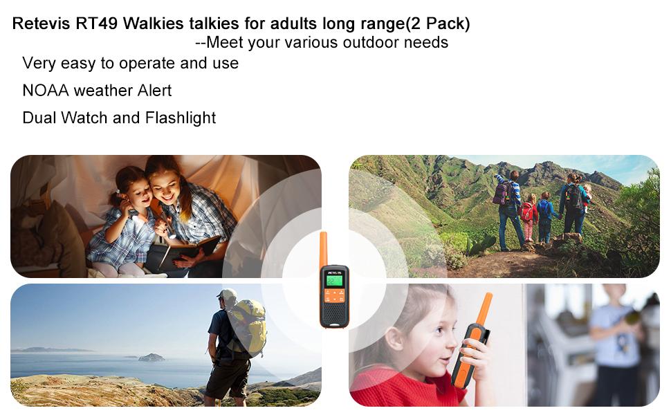 outdoor emergency walkie talkies with noaa and aa battery