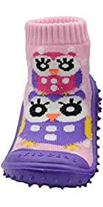 Skidders Baby Toddler First Walker Girls Grip Rubber Non-Slip Sole Flexible Shoes Pink / Purple Owls