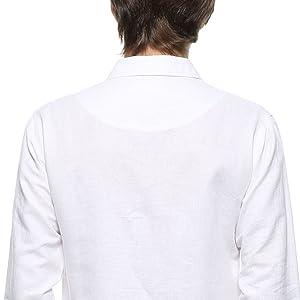 Men's white cotton linen t shirt