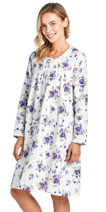 long sleeve flannel nightgown full sleep shirt gown floral printed soft warm