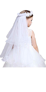 Girls first holy communion headpiece with flowers Wedding Pearls Crystal Lace Veil Hair