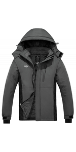 Wantdo Men's Mountain Ski Jacket Waterproof Parka Outdoors Winter Snow Coat
