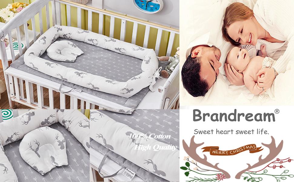 brandream baby nest bed deer gray portable crib