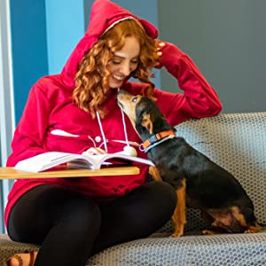 Red pet holder hoodie, enjoy the relax time