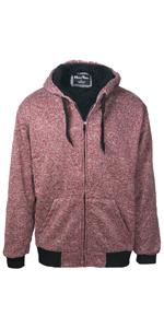 red mens sherpa lined hoodie