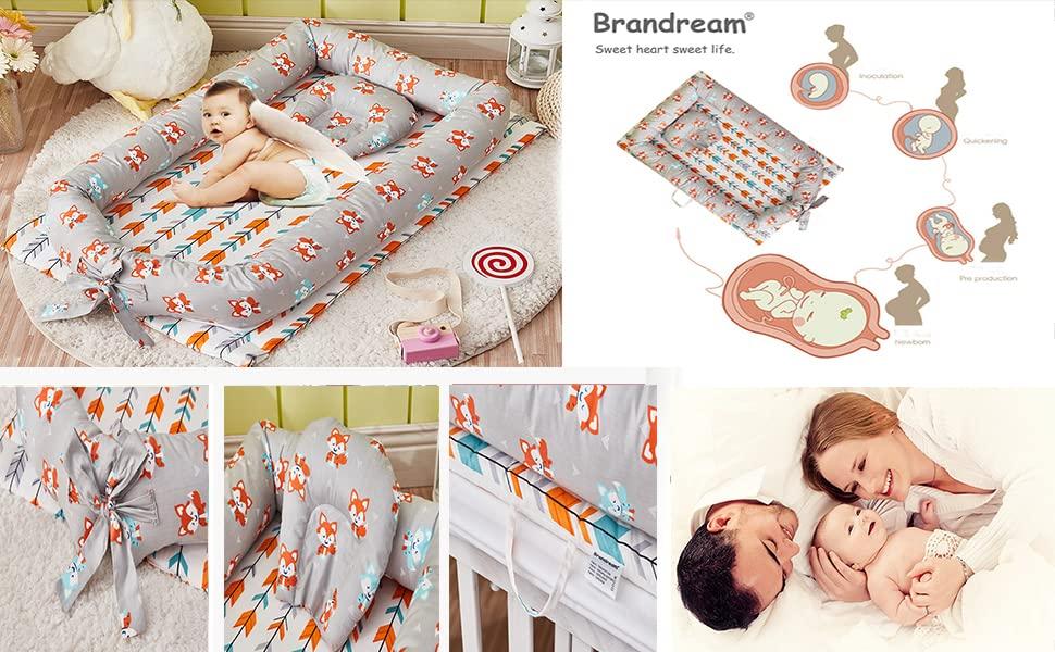 brandream baby nest bed with fox