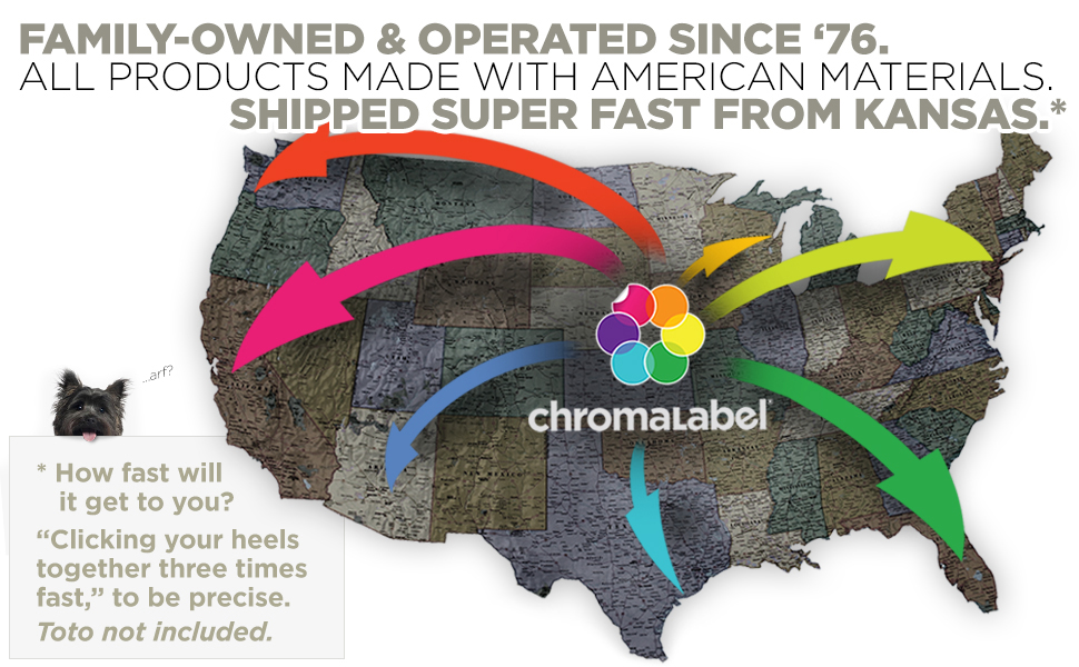 Kansas, USA made color coding labels and tapes ship quickly to all states