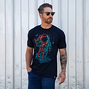 into the am model wearing universal love astronaut i love you sign language graphic tee t-shirt mens