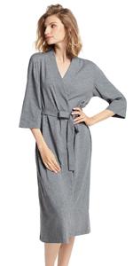 long cotton robe for women navy blue