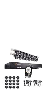 TIGERSECU 1080P 16-Channel 16 Cameras DVR Security System Bundle