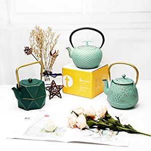 Tea Kettle Stovetop Safe Cast Iron Teapot with Infuser for loose tea