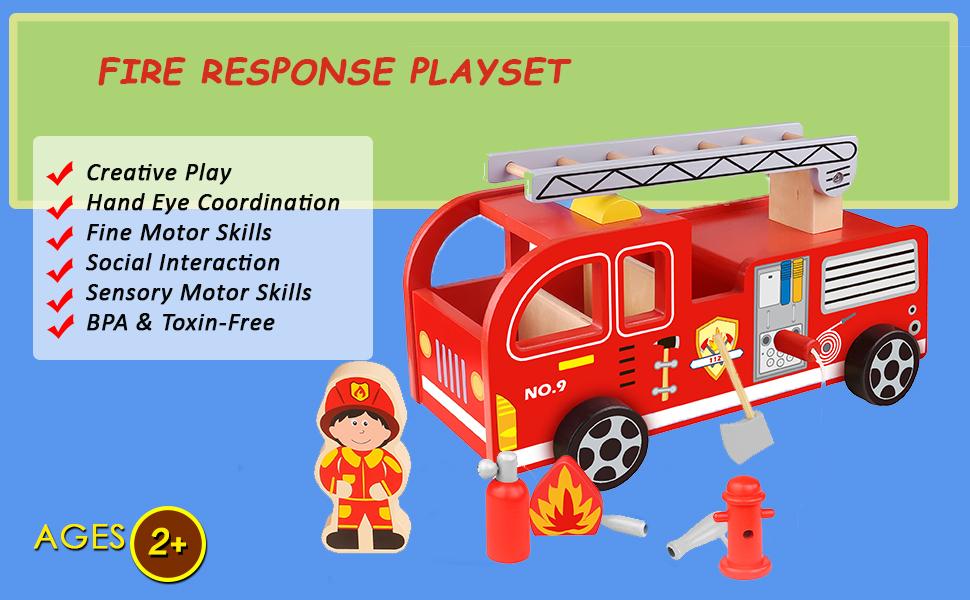 wooden fire truck playset