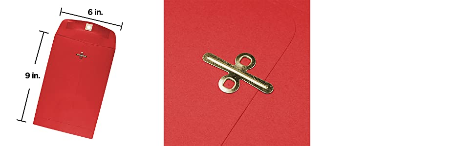 red 6 x 9 colored envelope clasp