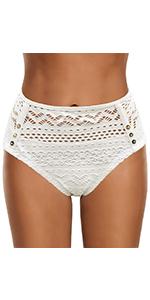 Women's Crochet Lace Mid Waist Full Coverage Bikini Briefs