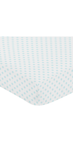 Blue and White Polka Dot Girl Fitted Crib Sheet Baby or Toddler Bed Nursery