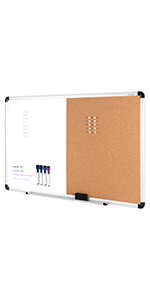 VUSIGN Combination Magnetic Whiteboard & Cork Board