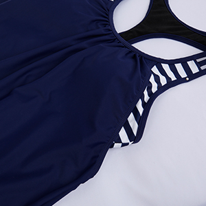 DOUBLE up tankini swimsuit blouson athletic sport strappy t-back