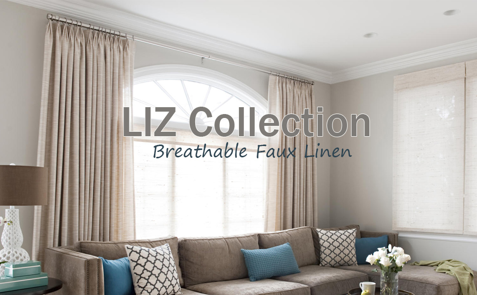 LIZ FAUX LINEN CURTAIN PINCH PLEAT