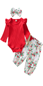 baby girl red floral outfit