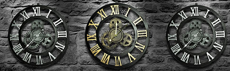 Evursua Vintage Decorative Wall Clock Large 16inch With Industrial Gears Non Ticking Home Decor Clocks Battery Operated Metal Effect Silver