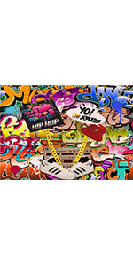 Colorful Graffiti Photography Backdrop 80s 90s Hip Hop Booth Retro Music 5x3ft