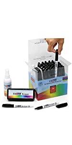 36 Black Dry Erase Markers with Eraser & Cleaner