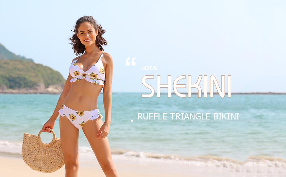 SHEKINI Girls Ruffle Flounce Triangle Bikini Print Bottom Two Piece Swimsuits