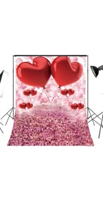 New Love Heart Backdrops for Photography 7x5ft Pink Red Shiny Valentines Day Rustic Wood Bokeh Photo Background for Pictures Customized Photo Booth Props