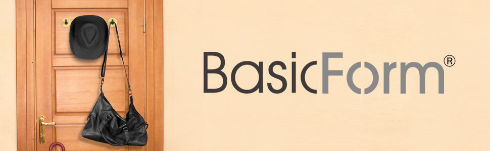 BasicForm Adhesive Bamboo Black Stainless Steel Hooks