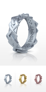 Silver Women's Ring  with Engraved Inner Lines