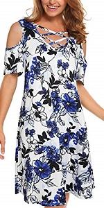 Summer Floral Cold Shoulder Criss Cross Neckline Short Sleeve Loose Mini Dress